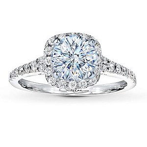 Single Halo Engagement Ring