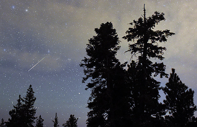 Night sky with meteor shower